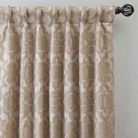 Gate Jacquard 95-Inch Pinch Pleat Window Curtain Panel in Bisque