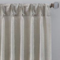 Grid 84-Inch Pinch Pleat Window Curtain Panel in Silver/Sage