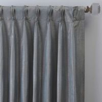 Grid 84-Inch Pinch Pleat Window Curtain Panel in Marine