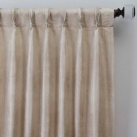 Grid 63-Inch Pinch Pleat Window Curtain Panel in Linen