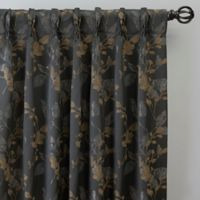 Jenna 108-Inch Pinch Pleat Window Curtain Panel in Charcoal