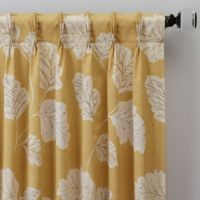 Leaf Motif 108-Inch Pinch Pleat Window Curtain Panel in Gold