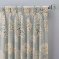 Leaf Motif 84-Inch Pinch Pleat Window Curtain Panel in Blue