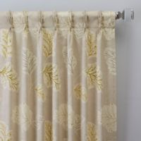 Leaf Motif 63-Inch Pinch Pleat Window Curtain Panel in Natural