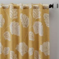 Leaf Motif 63-Inch Rod Pocket/Back Tab Window Curtain Panel in Gold