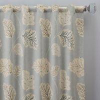 Leaf Motif 63-Inch Rod Pocket/Back Tab Window Curtain Panel in Blue
