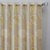 Leaf Motif 63-Inch Rod Pocket/Back Tab Window Curtain Panel in Natural