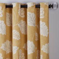 Leaf Motif 108-Inch Grommet Window Curtain Panel in Gold