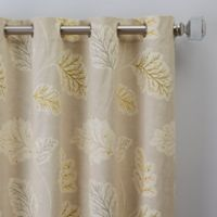 Leaf Motif 108-Inch Grommet Window Curtain Panel in Natural