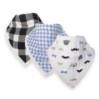 Hudson Baby® 12-Pack Gentleman Muslin Bandana Bibs in Black