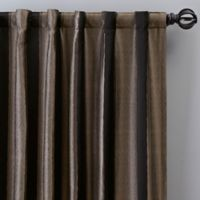Luxe Wide Stripe 84-Inch Rod Pocket/Back Tab Window Curtain Panel in Onyx