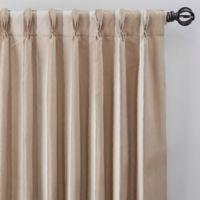 Luxe Wide Stripe 63-Inch Pinch Pleat Window Curtain Panel in Champagne