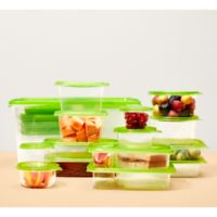 FLEX 76-Piece Plastic Food Storage Container Set in Green