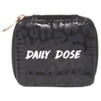 """Miamica """"Daily Dose"""" Hi-Shine Leopard Pill Case in Black"""