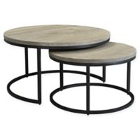 Moe's Home Collection Drey Round Nesting Tables in Grey (Set of 2)