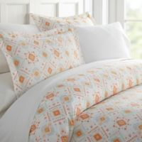 Aztec Dream Patterned King Duvet Cover Set in Coral