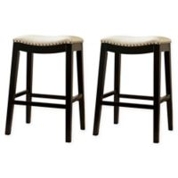 Hudson 29-Inch Bar Stools in White (Set of 2)