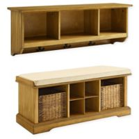 Crossley Furniture Brennan Wall Shelf and Cubby Bench Set in Natural