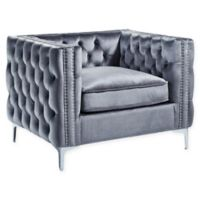 Inspired Home Clarinda Velvet Club Chair in Grey