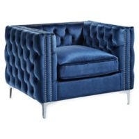 Inspired Home Clarinda Velvet Club Chair in Navy