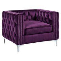 Inspired Home Clarinda Velvet Club Chair in Purple