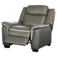Abbyson Living Rylee Leather Power Reclining Arm Chair in Grey