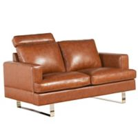 Abbyson Living Ezra Leather Loveseat in Camel