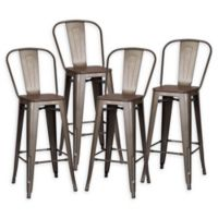 Poly and Bark Trattoria Bar Stools in Bronze/Elm (Set of 4)