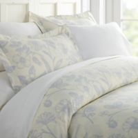 Garden Patterned Full/Queen Duvet Cover Set in Light Blue