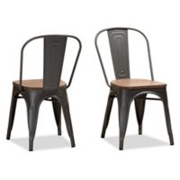 Baxton Studio Kade Steel and Wood Stackable Chairs in Gunmetal (Set of 2)