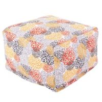 Majestic Home Goods Blooms Bean Bag Ottoman in Citrus