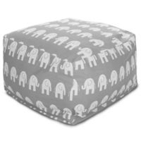 Majestic Home Goods Ellie Bean Bag Ottoman in Grey