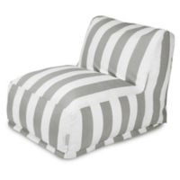 Majestic International Vertical Stripe Bean Bag Lounger in Grey