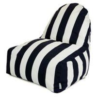 Majestic International Vertical Stripe Bean Bag Kick-It Chair in Black