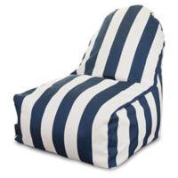 Majestic International Vertical Stripe Bean Bag Kick-It Chair in Navy