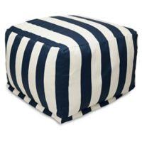 Majestic International Vertical Stripe Bean Bag Ottoman in Navy