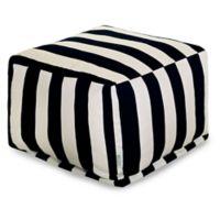 Majestic International Vertical Stripe Bean Bag Ottoman in Black