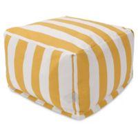 Majestic International Vertical Stripe Bean Bag Ottoman in Yellow