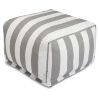 Majestic International Vertical Stripe Bean Bag Ottoman in Grey