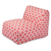 Majestic Home Goods Links Bean Bag Cotton Chair Lounger in Coral
