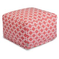 Majestic Home Goods Links Bean Bag Cotton Twill Ottoman in Coral