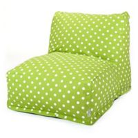 Majestic Home Goods Small Polka Dot Bean Bag Chair Lounger in Lime