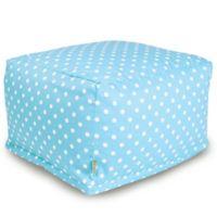 Majestic Home Goods Small Polka Dot Bean Bag Ottoman in Aquamarine