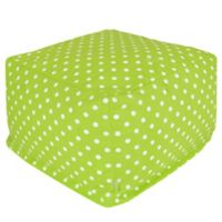 Majestic Home Goods Small Polka Dot Bean Bag Ottoman in Lime