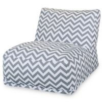 Majestic Home Goods Chevron Bean Bag Chair Lounger in Grey