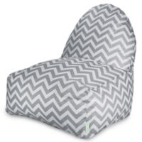 Majestic Home Goods Chevron Polyester Bean Bag Kick-It Chair in Grey