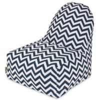 Majestic Home Goods Chevron Polyester Bean Bag Kick-It Chair in Navy
