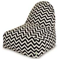 Majestic Home Goods Chevron Polyester Bean Bag Kick-It Chair in Black