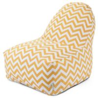 Majestic Home Goods Chevron Polyster Bean Bag Kick-It Chair in Yellow