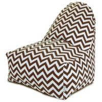 Majestic Home Goods Chevron Polyester Bean Bag Kick-It Chair in Chocolate